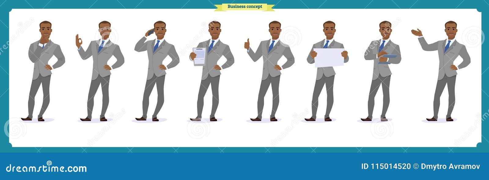 Insieme dell uomo di affari di eroi che presenta in varia azione Giovani uomini felici dell africano nero in vestito Carattere de