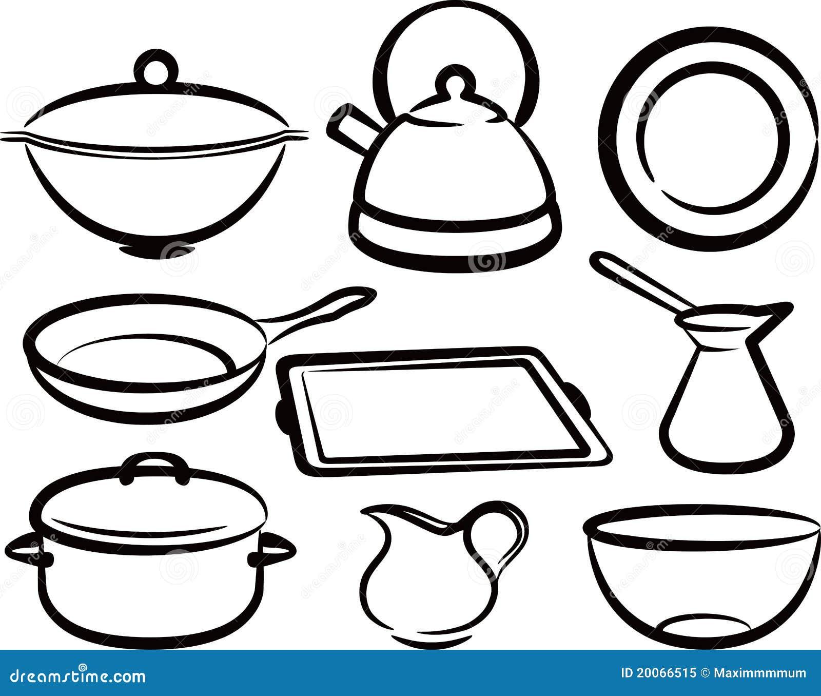 Insieme Dell'utensile Della Cucina Fotografia Stock Libera Da Diritti  #85A625 1300 1119 Semplice Design Della Cucina