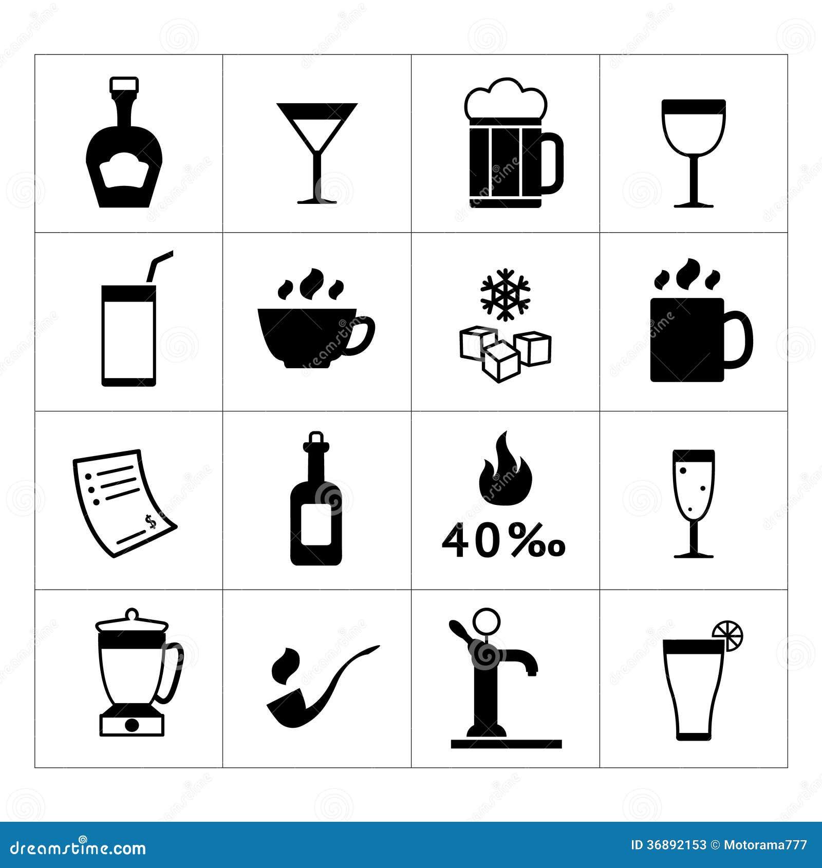 Download Insieme Della Barra, Delle Bevande E Delle Icone Delle Bevande Illustrazione Vettoriale - Illustrazione di birra, brandy: 36892153