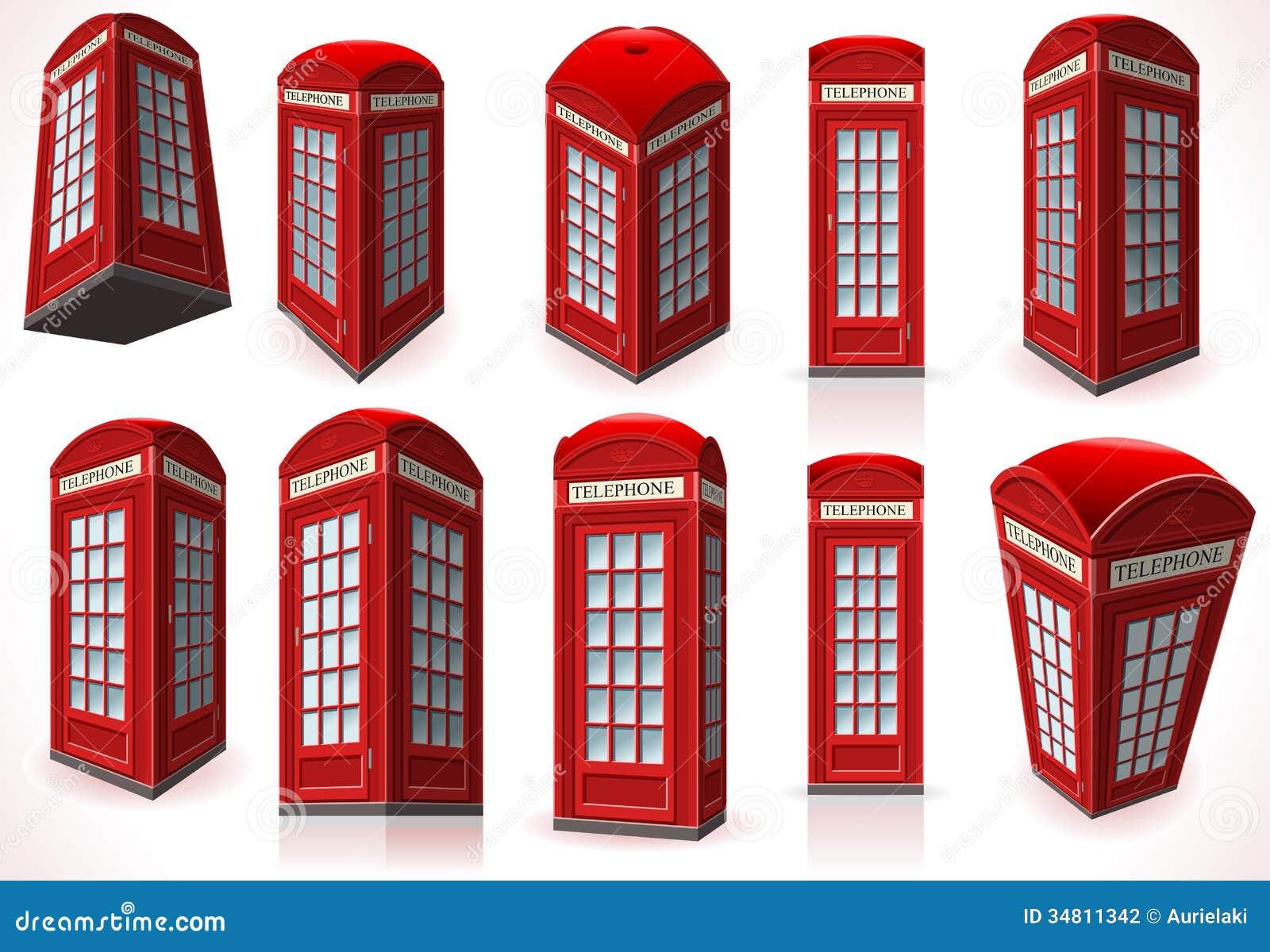 Insieme della cabina rossa inglese del telefono fotografia for Planimetrie della cabina del lago