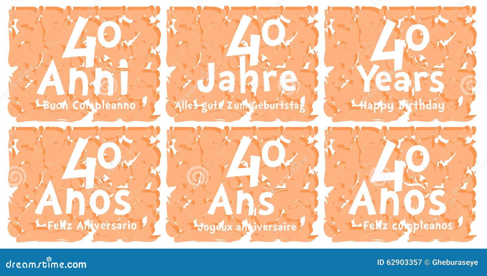 Insieme Della Cartolina D Auguri Di Compleanno Per 40 Anni