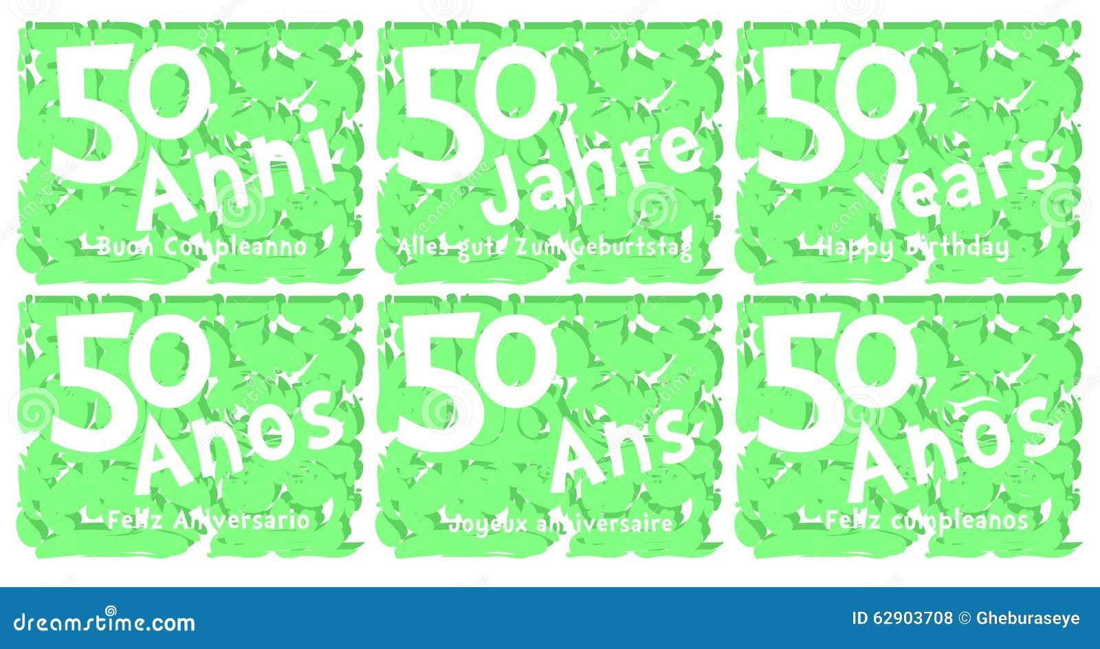Insieme Della Cartolina D Auguri Di Compleanno Per 50 Anni