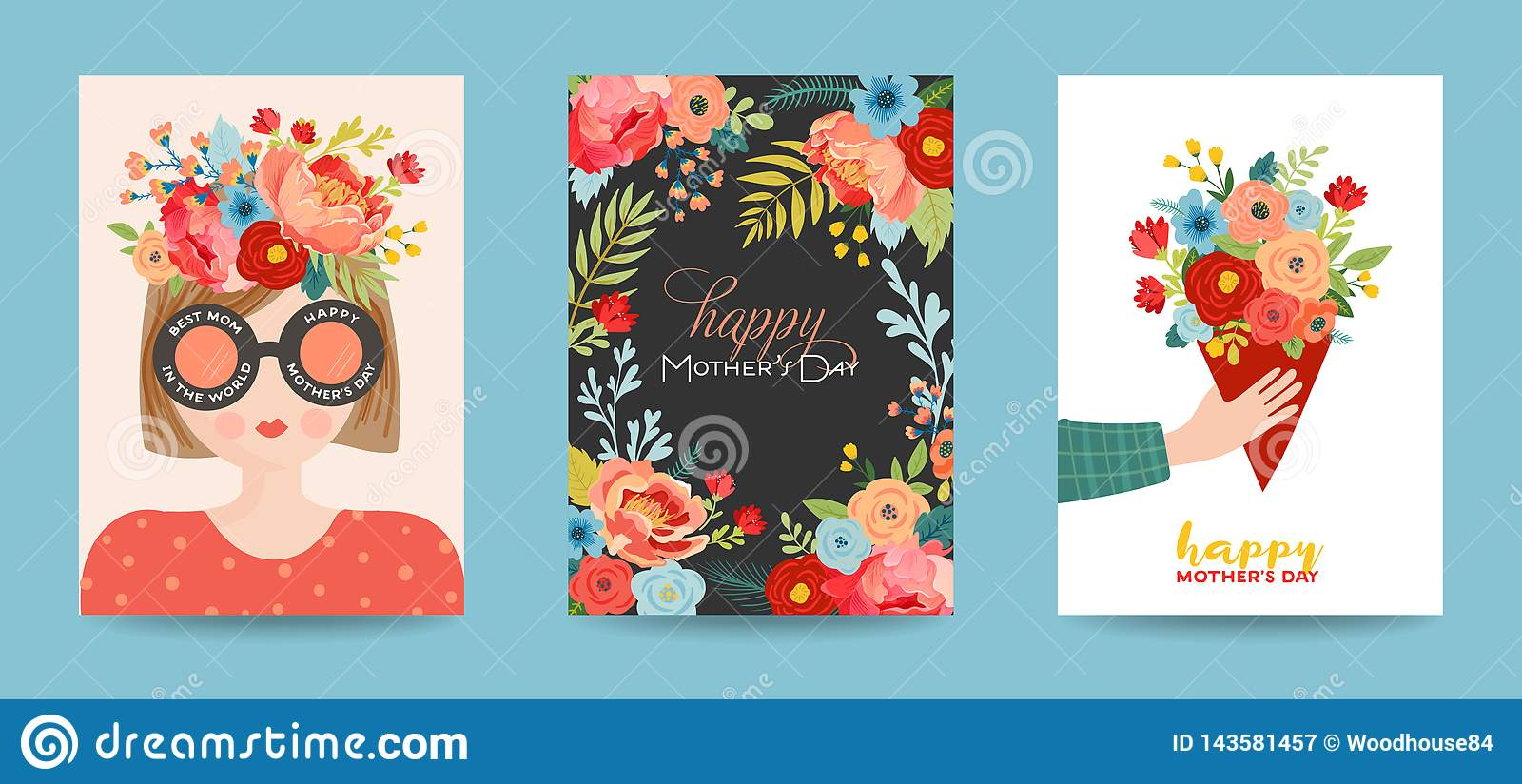 Insieme della cartolina d auguri di giorno di madri Insegna felice di festa di giorno di madre della primavera con i fiori e cara