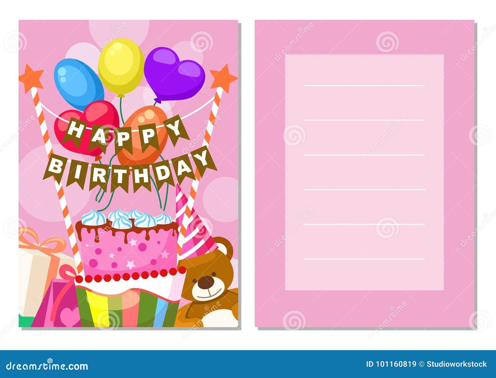 Insieme Della Cartolina Dei Bambini Di Buon Compleanno Illustrazione