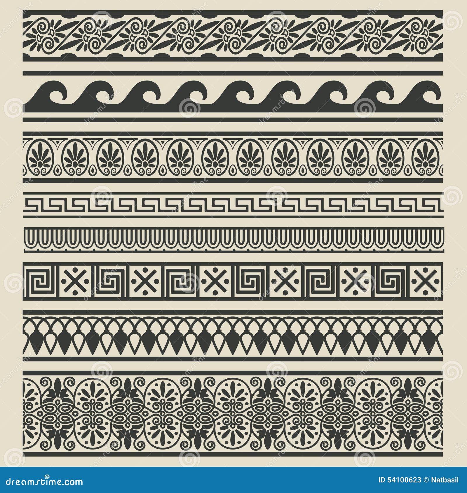 Decorazioni Dei Vasi Greci.Insieme Della Decorazione Del Confine Modelli Etnici Greci