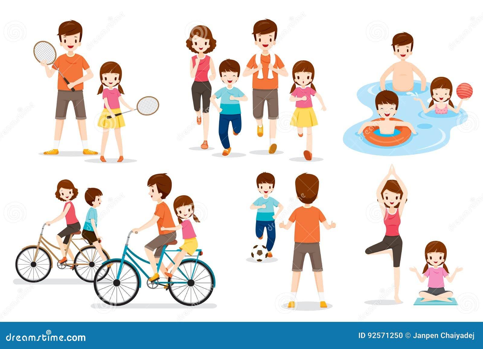 Insieme della famiglia con le varie attività di sport e di esercizio