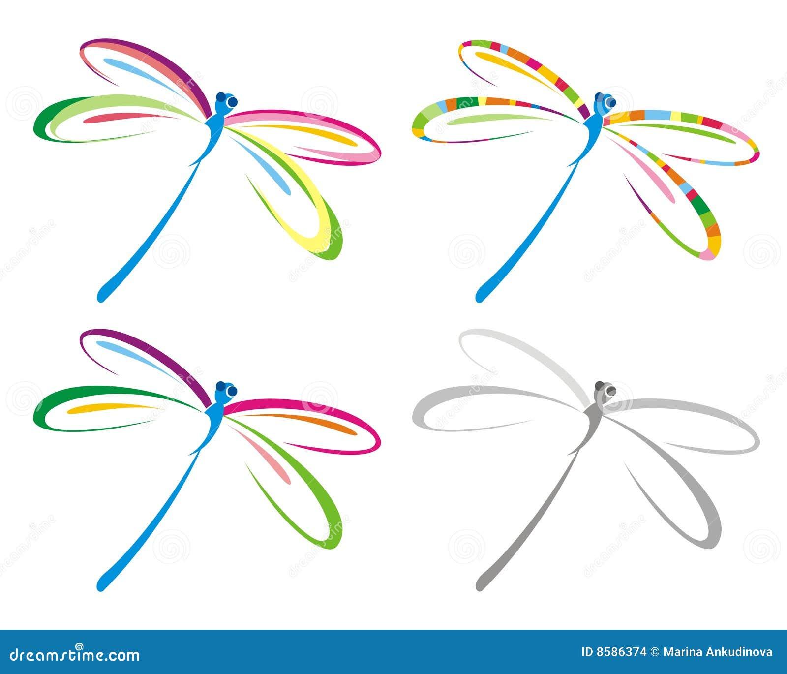 Insieme della libellula di colore.