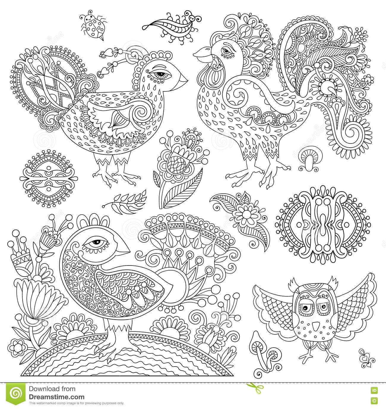 Lo Zentangle Del Pollo Ha Stilizzato Per Il Libro Da Colorare Per L