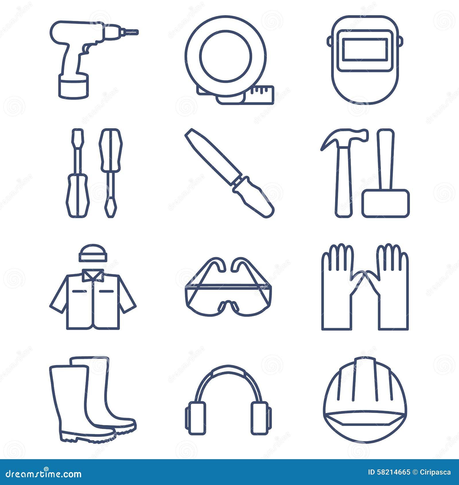 Insieme della linea icone per DIY, strumenti e vestiti da lavoro