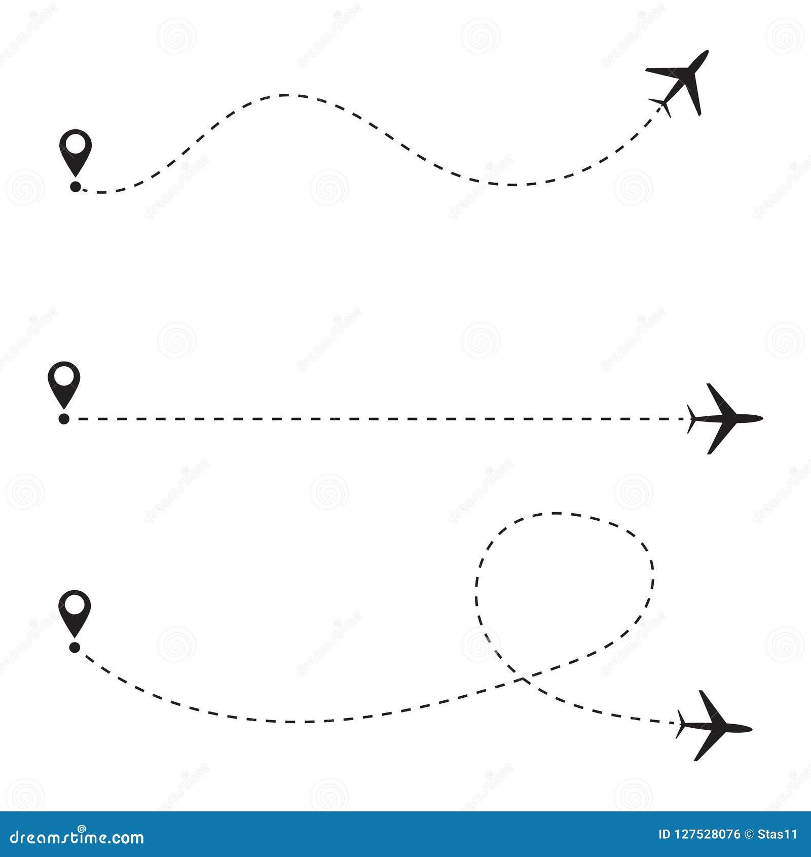 Insieme della linea percorso dell aeroplano Illustrazione di vettore