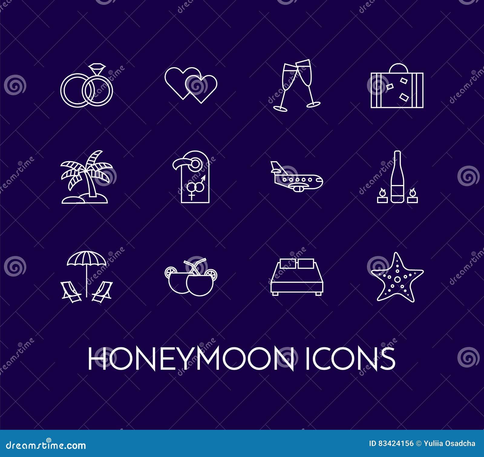 Insieme della linea sottile icone con il viaggio di nozze di simboli di luna di miele
