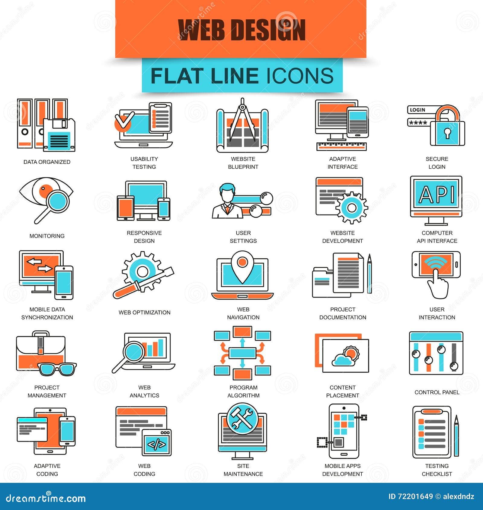9bb23d5037 Insieme Della Linea Sottile Web Design E Sviluppo Delle Icone ...