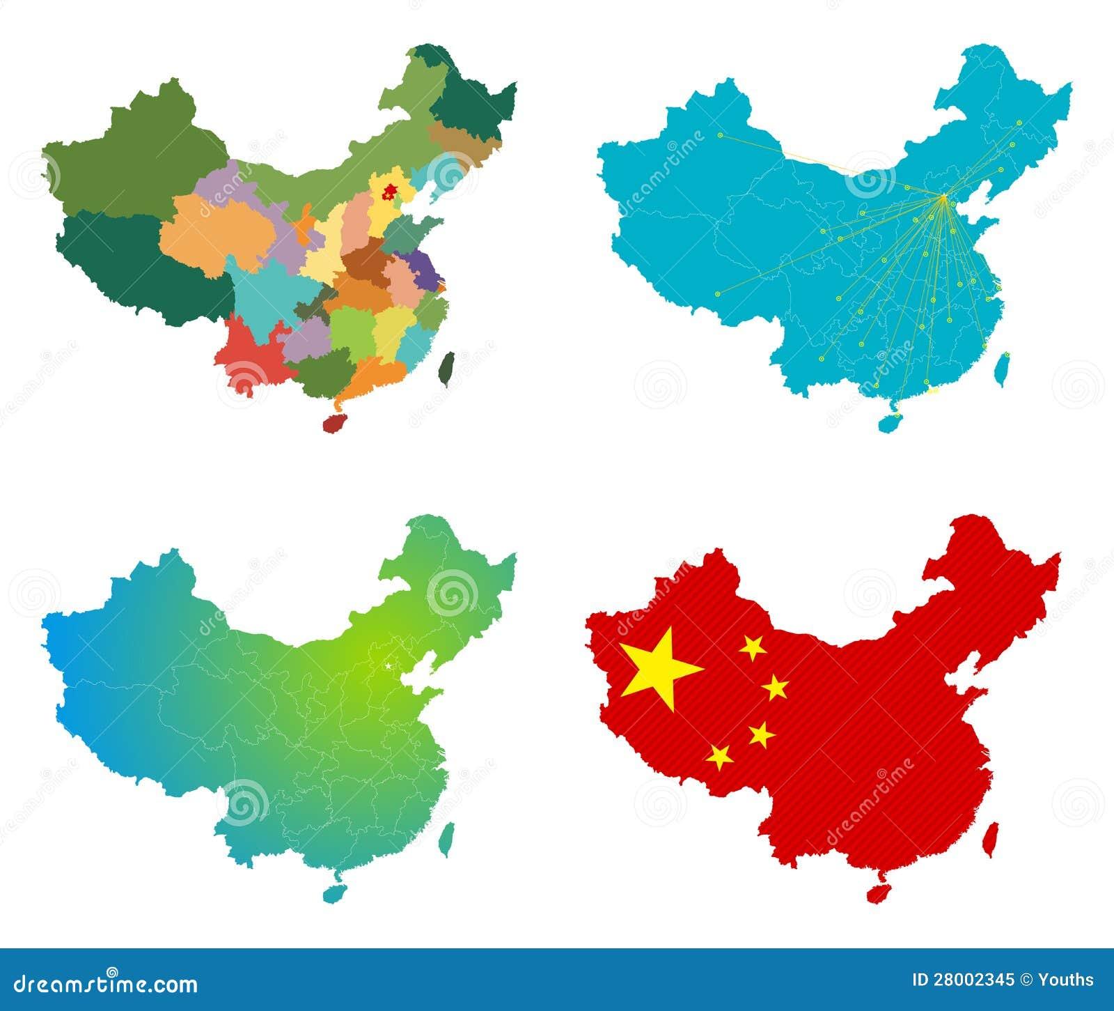 Insieme della mappa della Cina di vettore