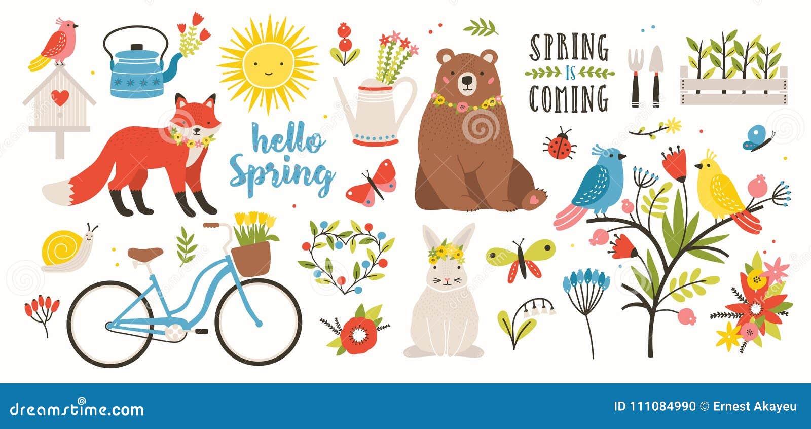 Insieme della primavera La raccolta degli animali, degli uccelli e degli insetti svegli, fiori di fioritura e decorazioni floreal