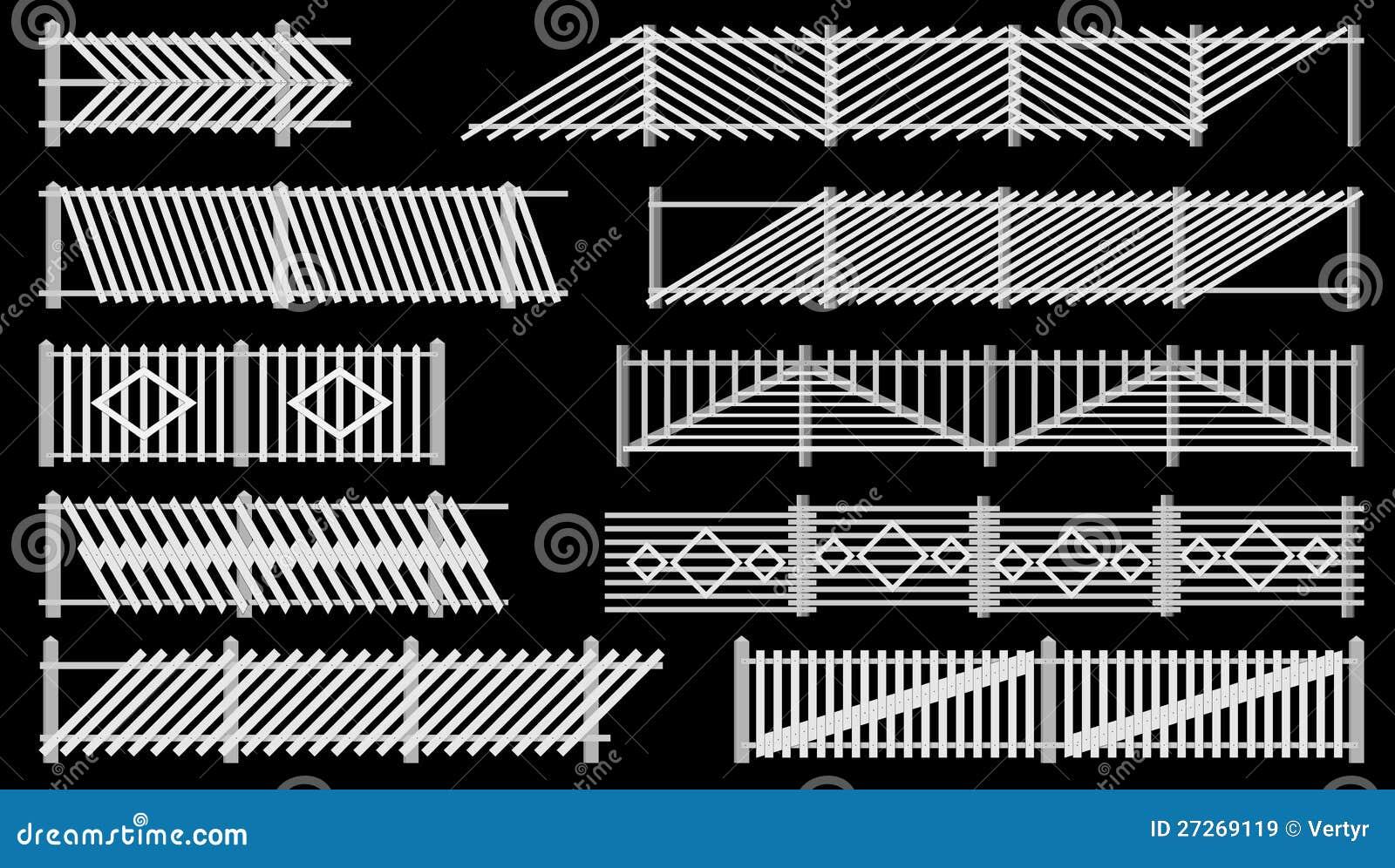 Staccionata Bianca In Legno insieme della rete fissa dalla recinzione del legno