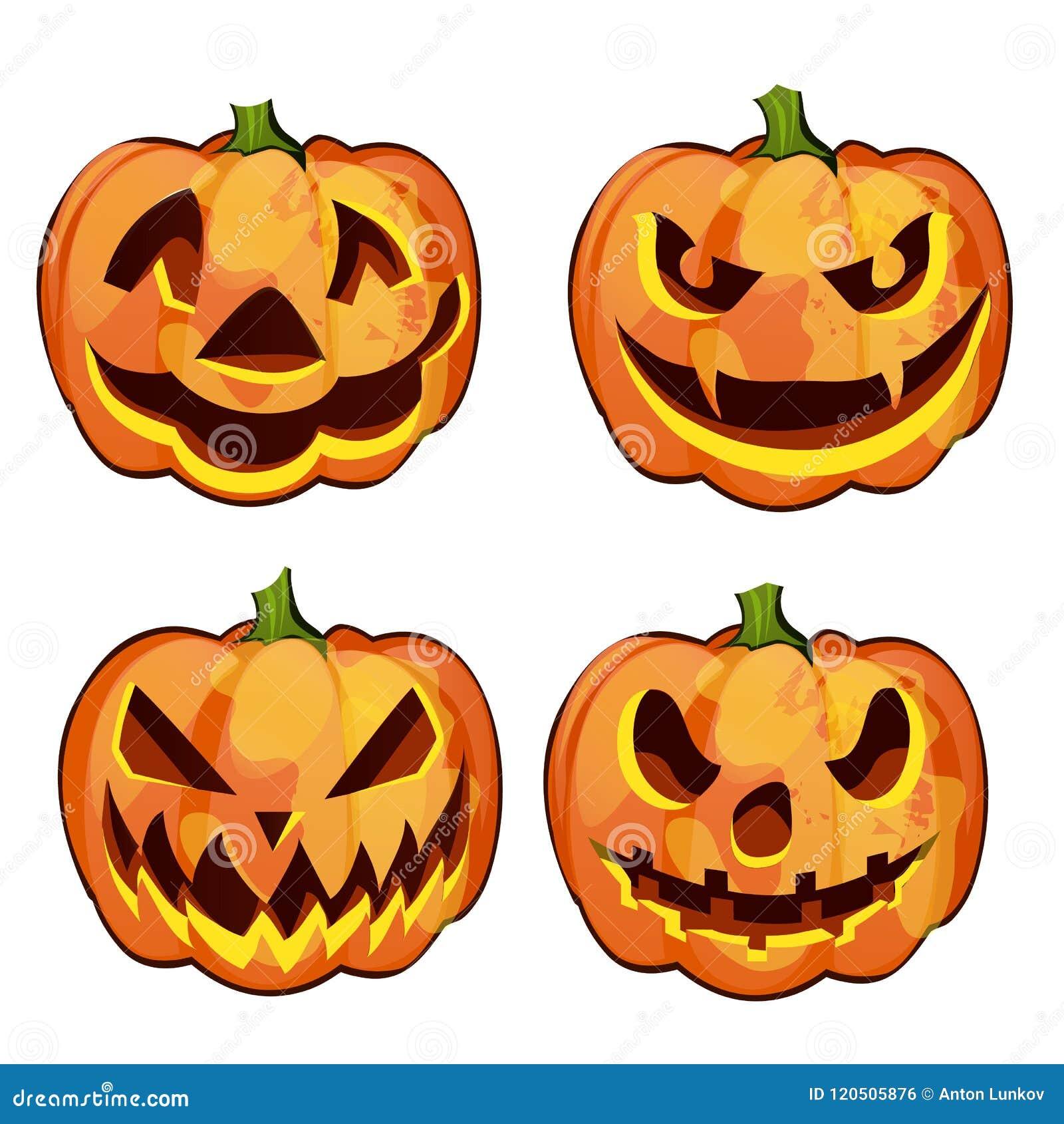 Insieme della zucca matura con gli occhi e la bocca scolpiti, Jack-o-lanterne Attributo della festa di Halloween Schizzo per