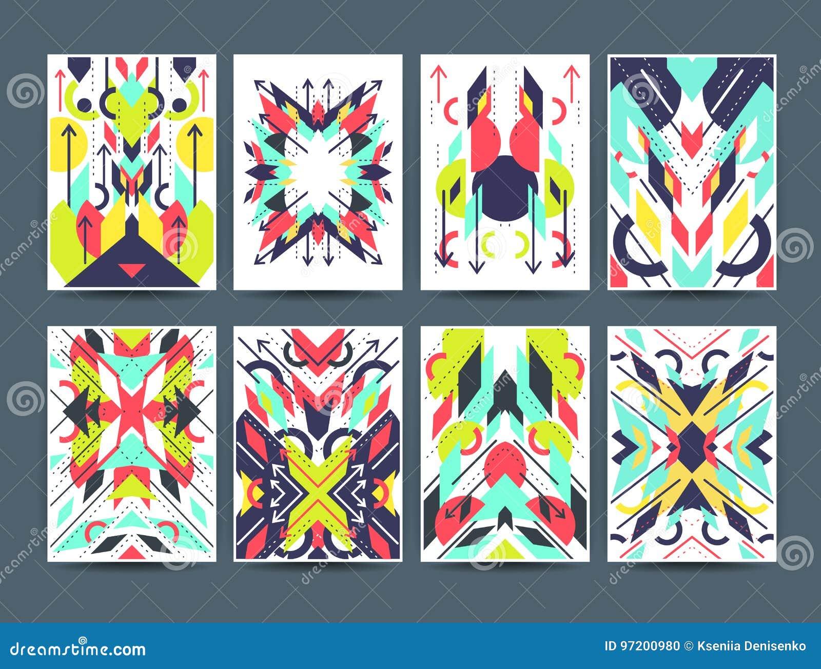 Insieme delle alette di filatoio variopinte astratte geometriche
