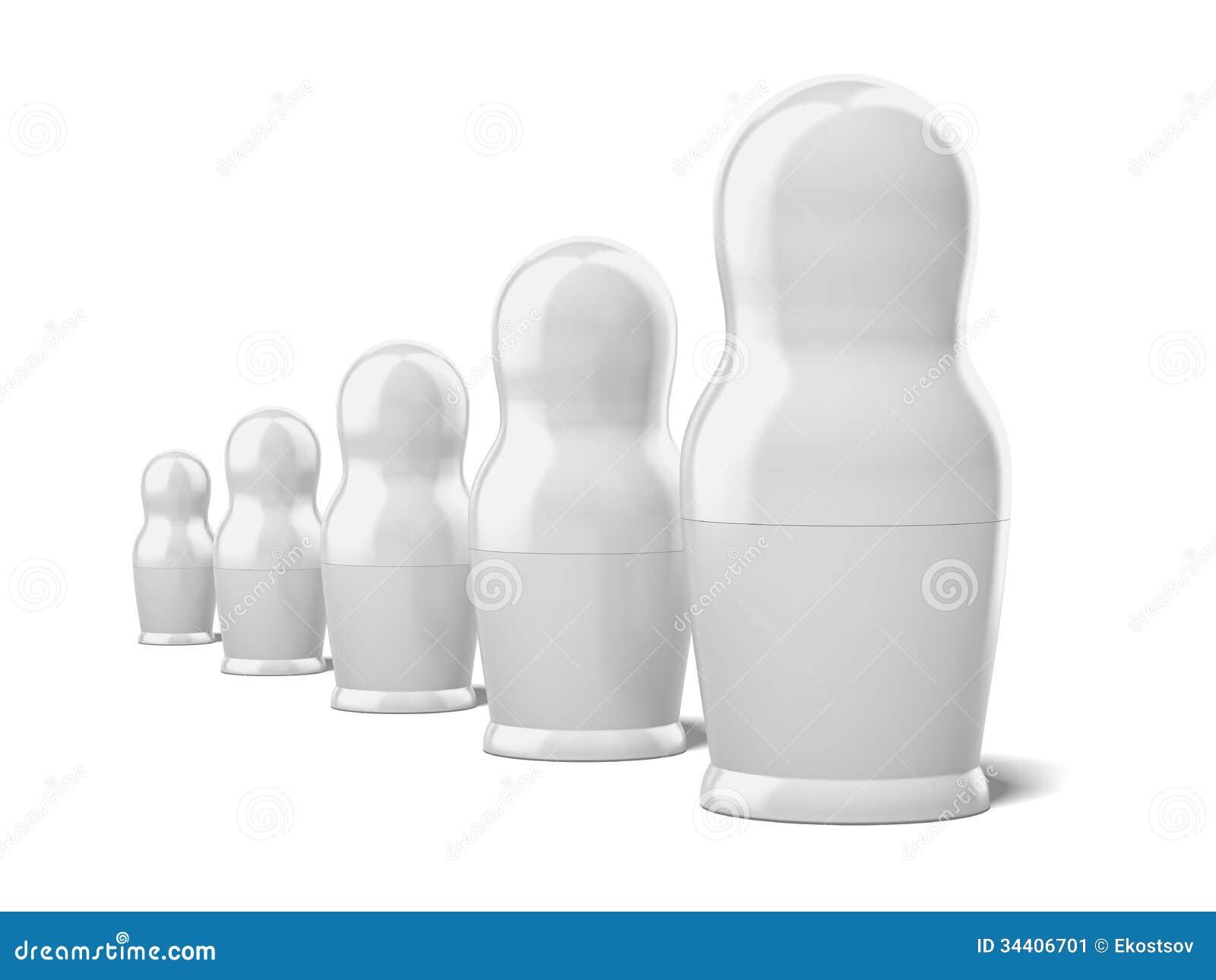 Insieme delle bambole bianche in bianco