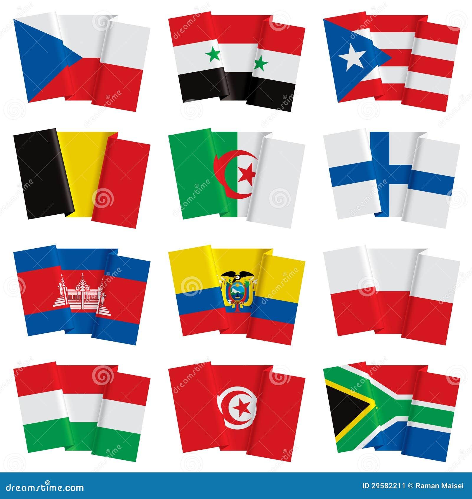 Insieme delle bandiere del mondo illustrazione vettoriale - Bandiere da tavolo e basi ...
