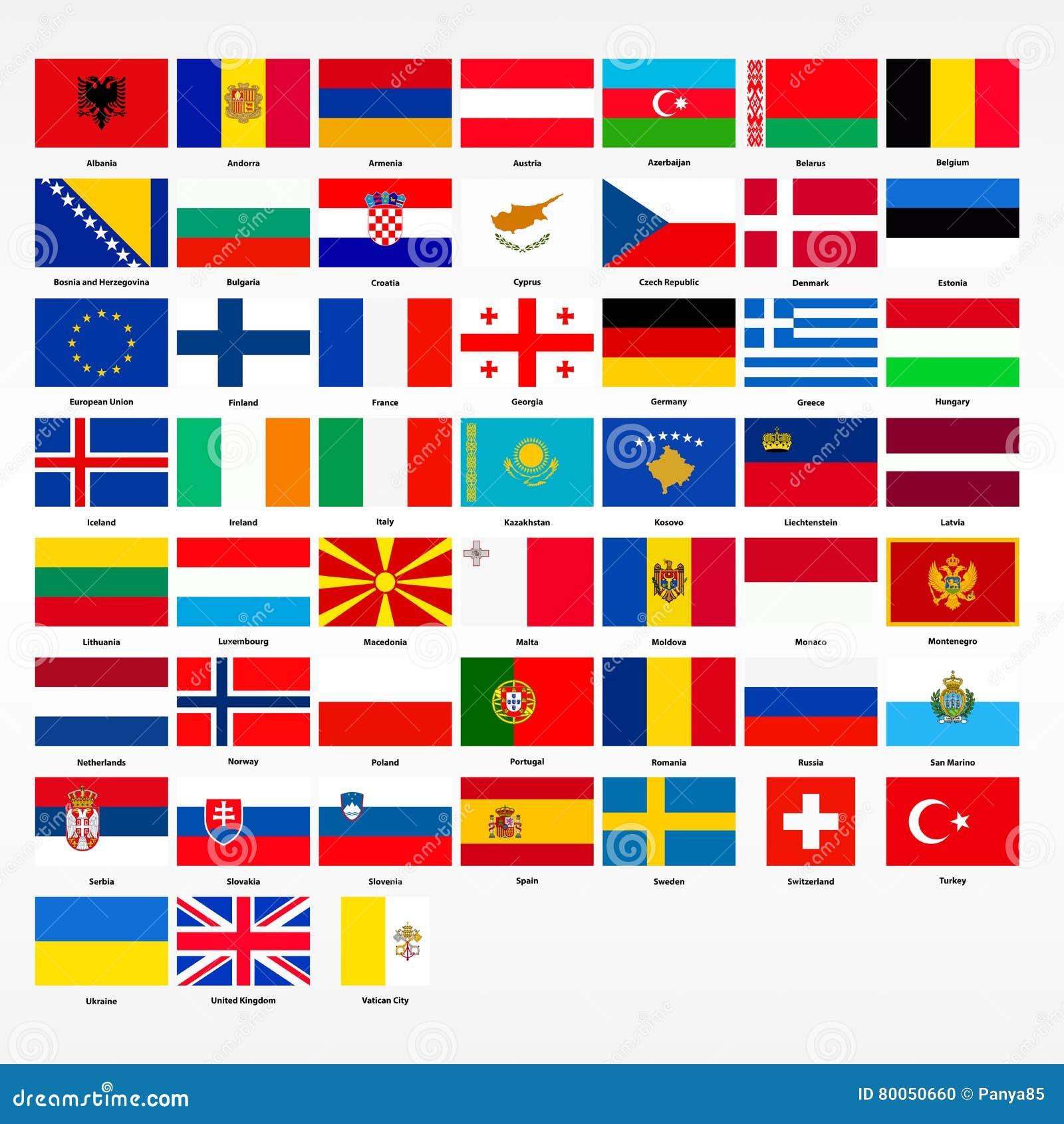 Insieme Delle Bandiere Di Tutti I Paesi Di Europa Illustrazione