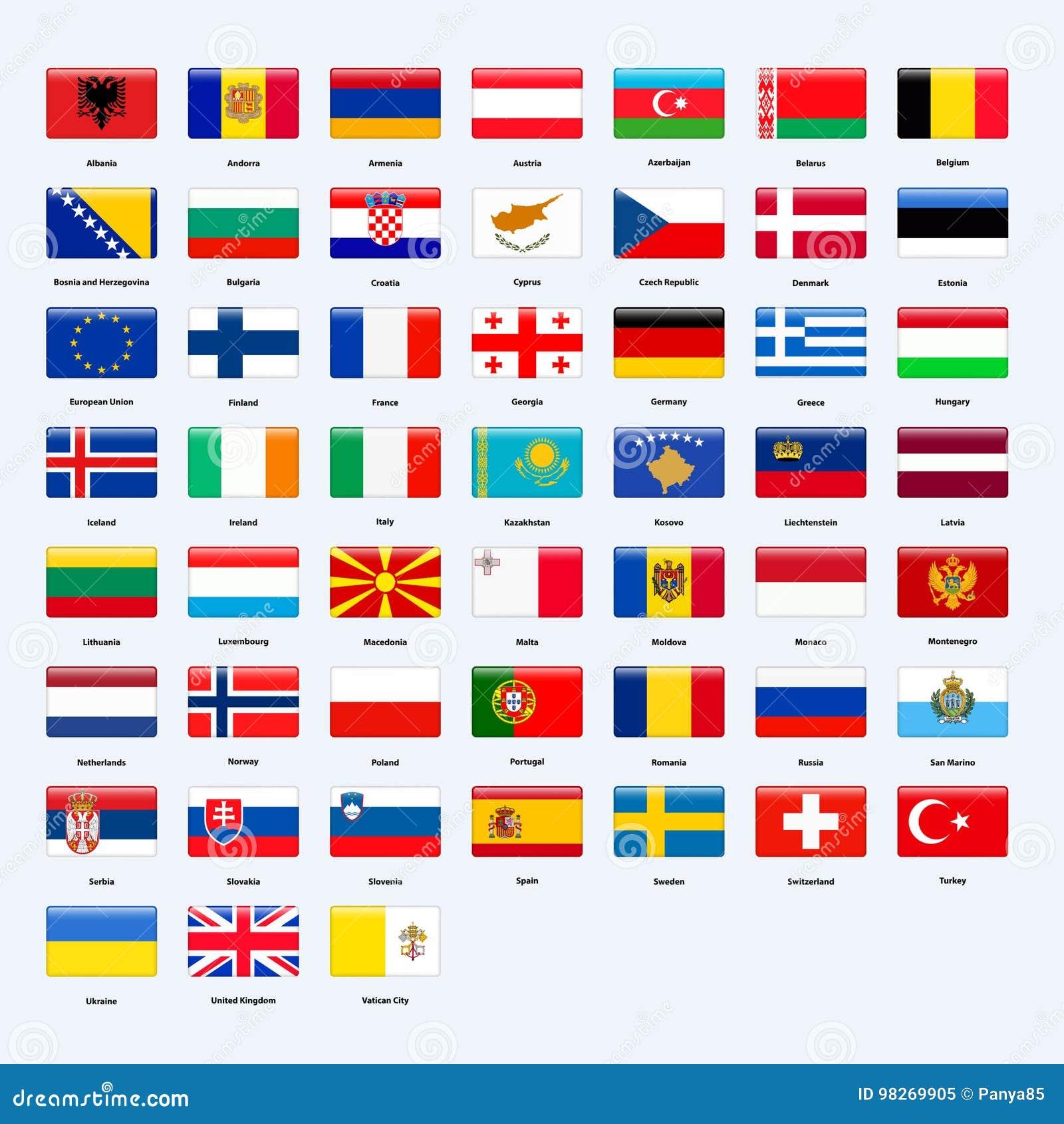 Insieme Delle Bandiere Di Tutti I Paesi Di Europa Stile Lucido Di