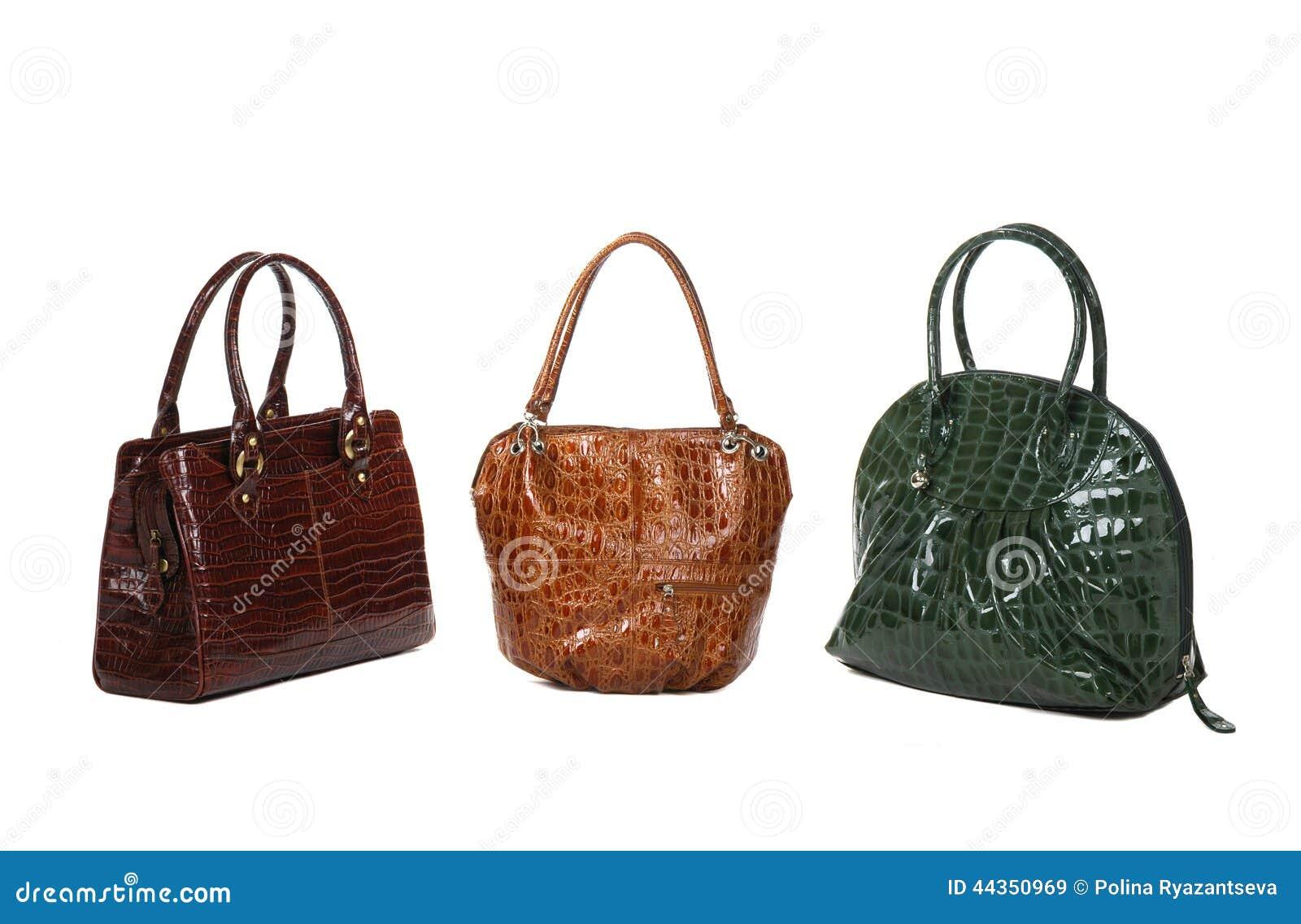 Insieme delle borse delle donne della pelle verniciata