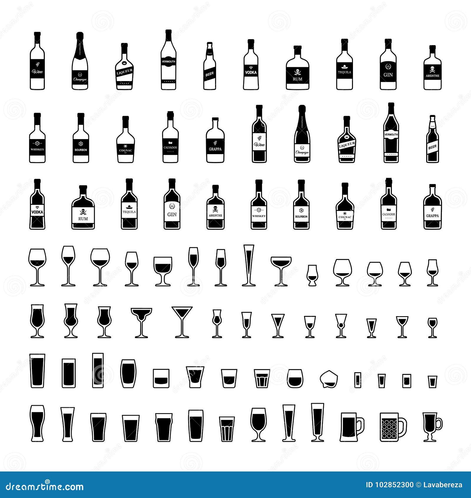 Insieme delle bottiglie in bianco e nero di alcool negli stili differenti Vettore