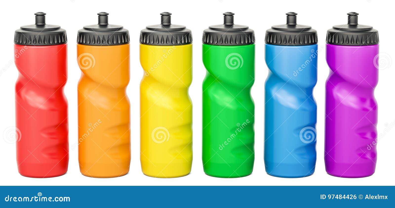Insieme delle bottiglie di acqua di plastica colorate di sport, rappresentazione 3D