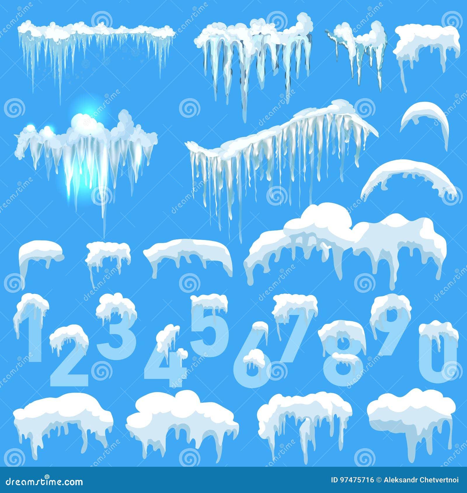 Insieme delle calotte glaciali Cumuli di neve, ghiaccioli, decorazione di inverno degli elementi