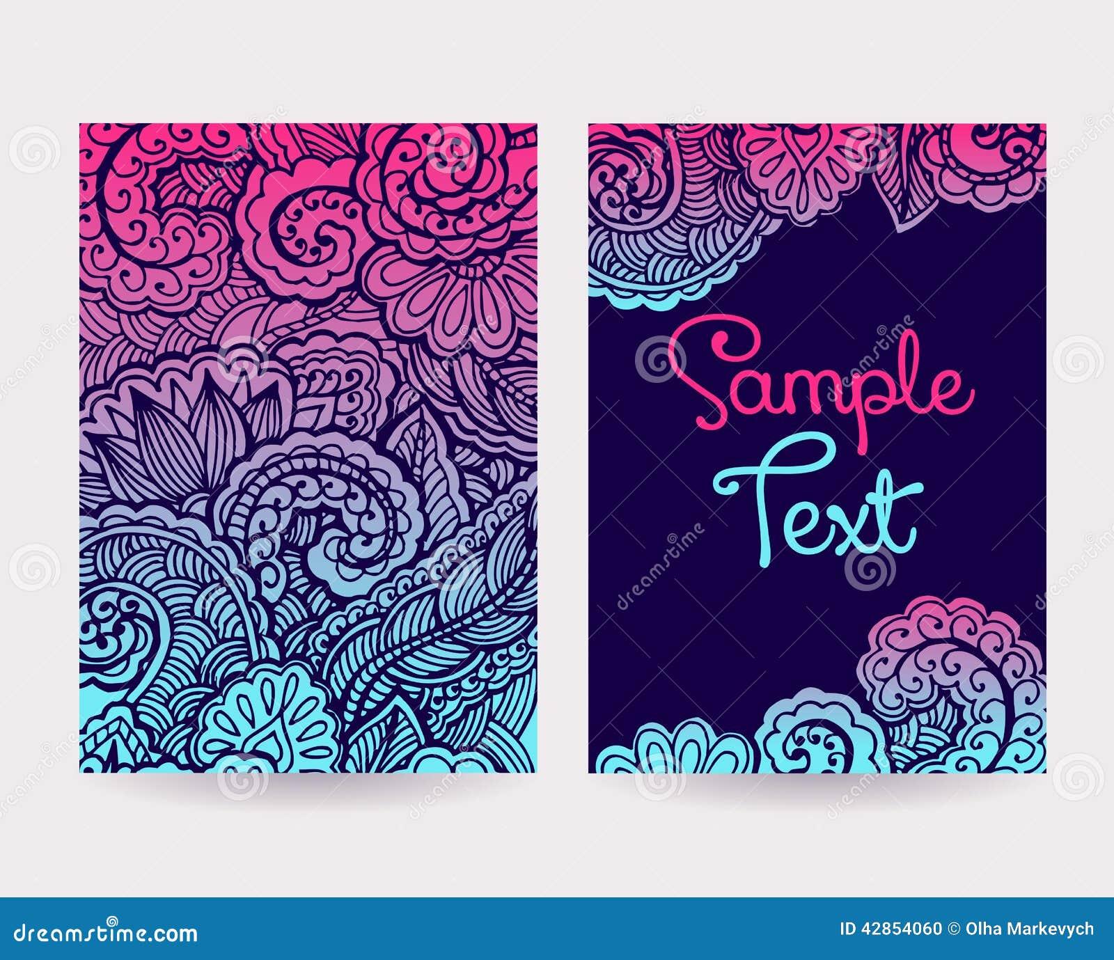 insieme delle carte decorative illustrazione vettoriale