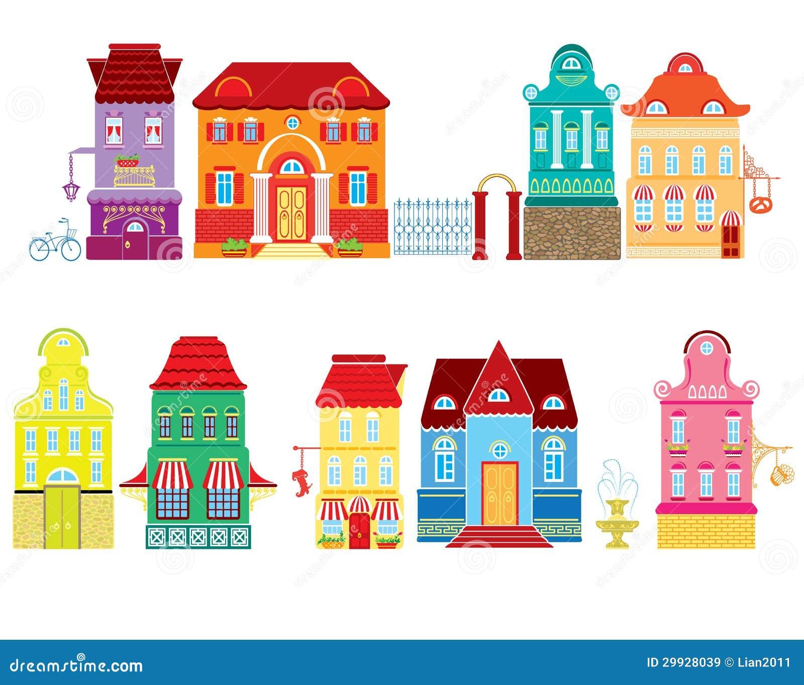 Insieme delle case del disegno di fiaba dei fumetti for Disegni di case dei caraibi
