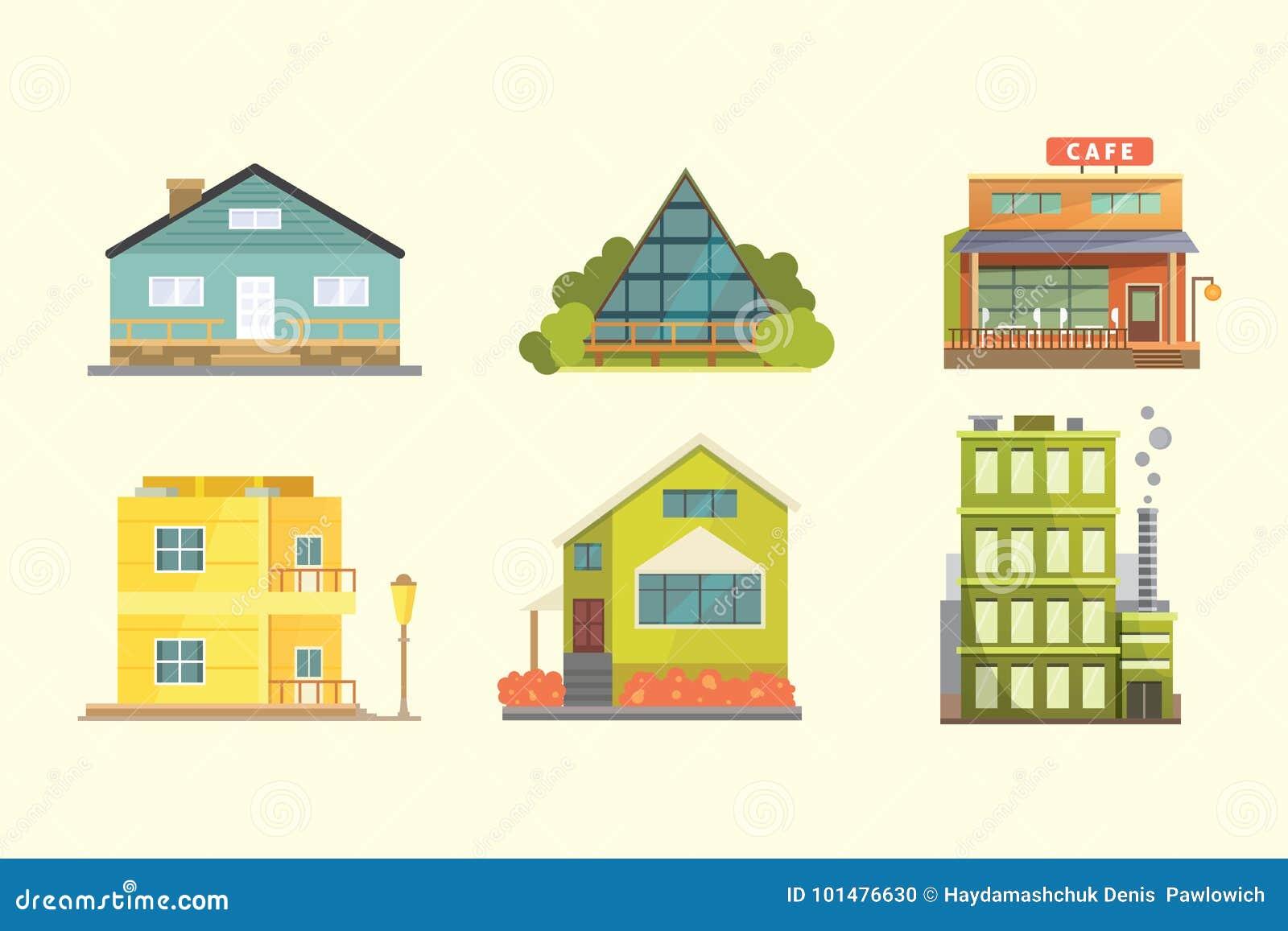 Stili Di Case Moderne.Insieme Delle Case Residenziali Di Stili Differenti Costruzioni