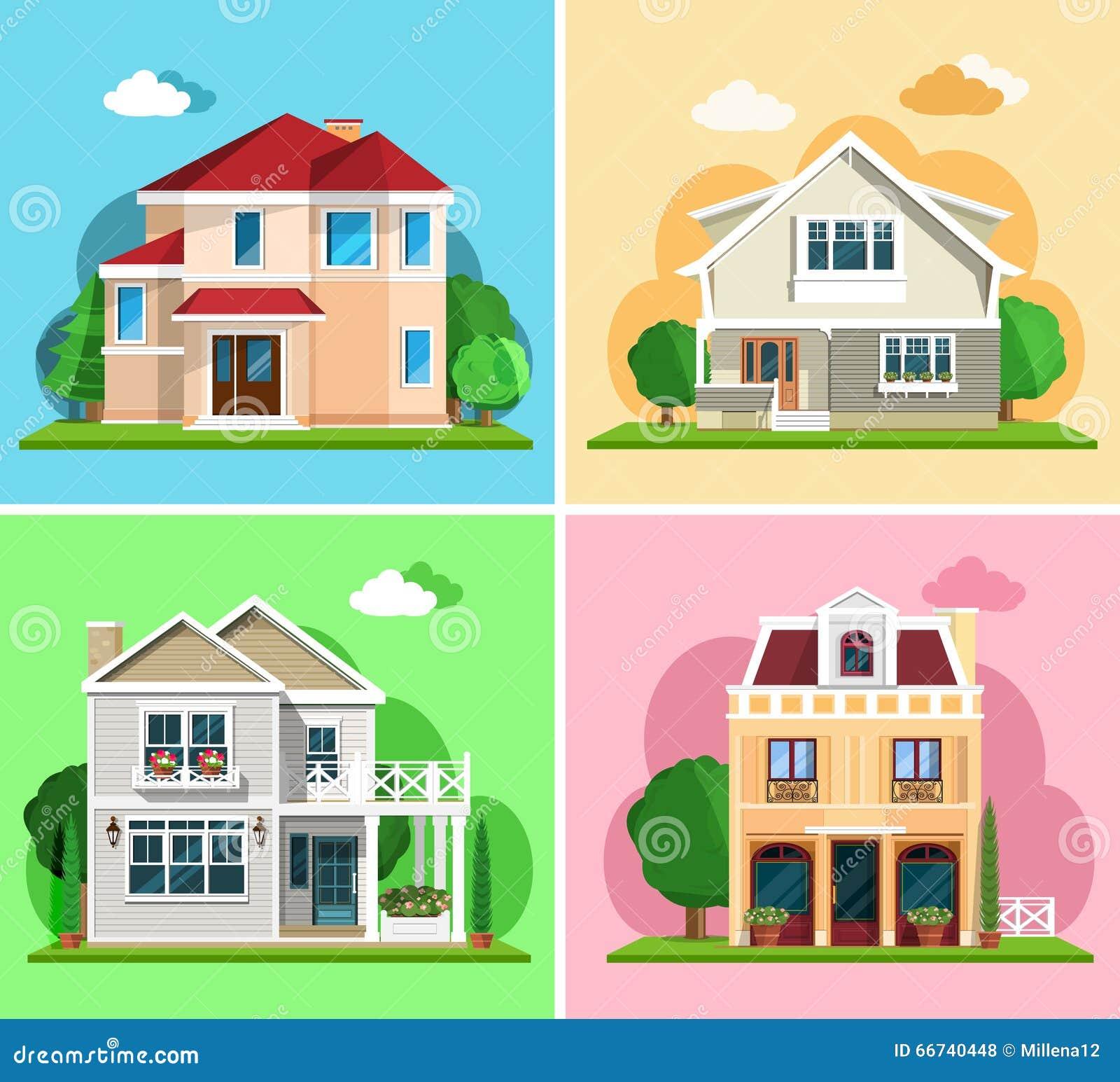 Insieme delle case variopinte dettagliate del cottage for Costruzioni case moderne