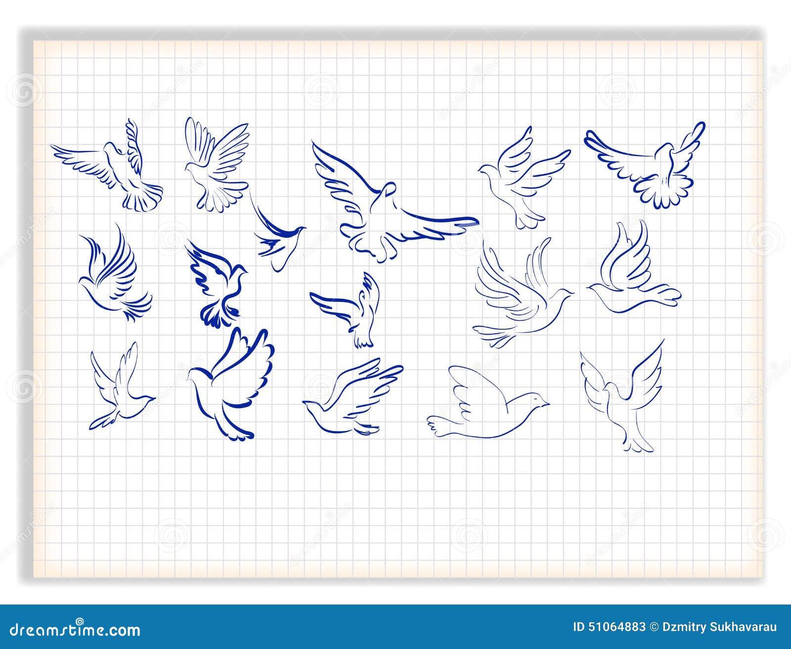 Insieme Delle Colombe Bianche Illustrazione Di Stock Illustrazione