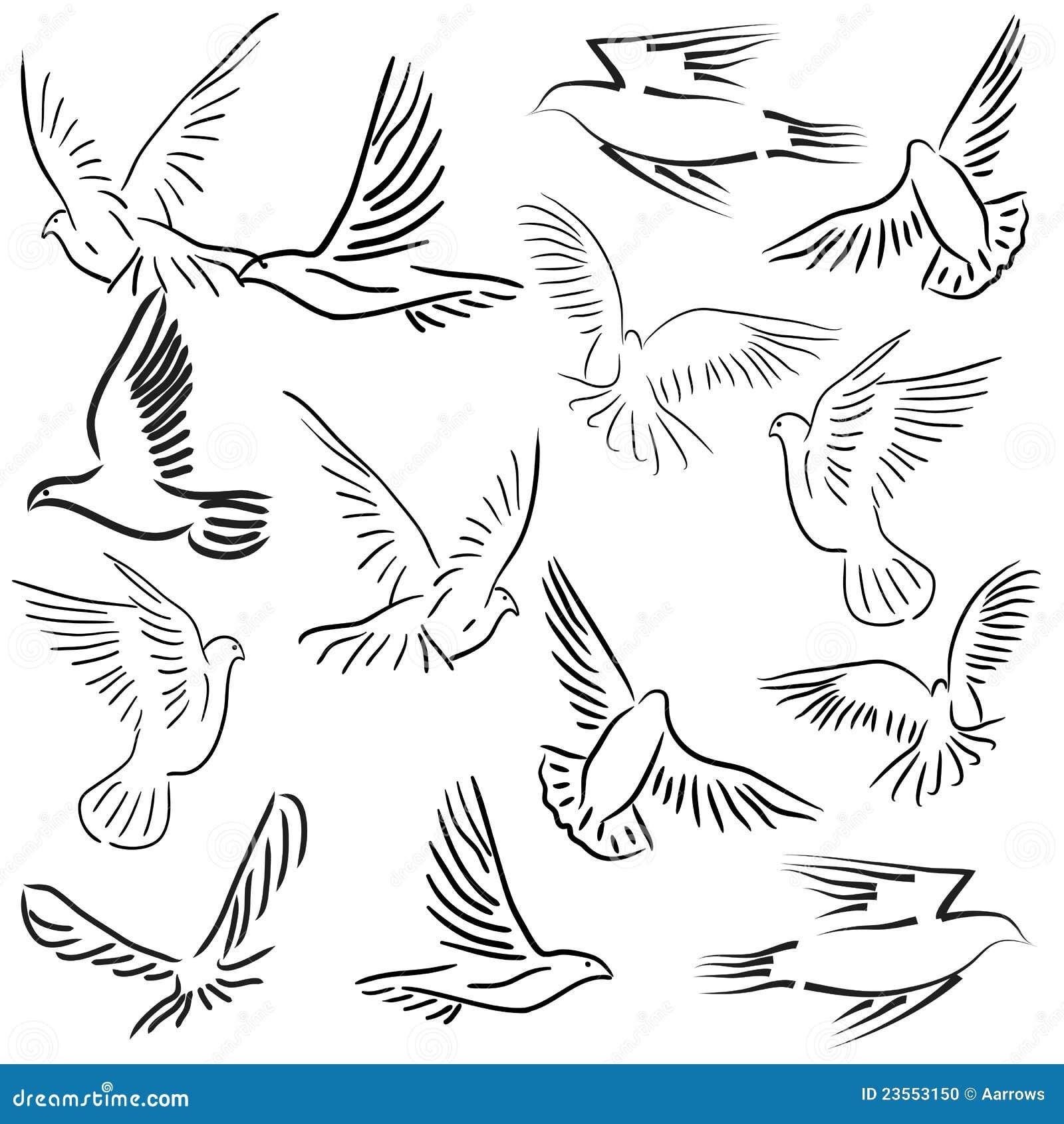 Insieme Delle Colombe Bianche Di Vettore Illustrazione Vettoriale