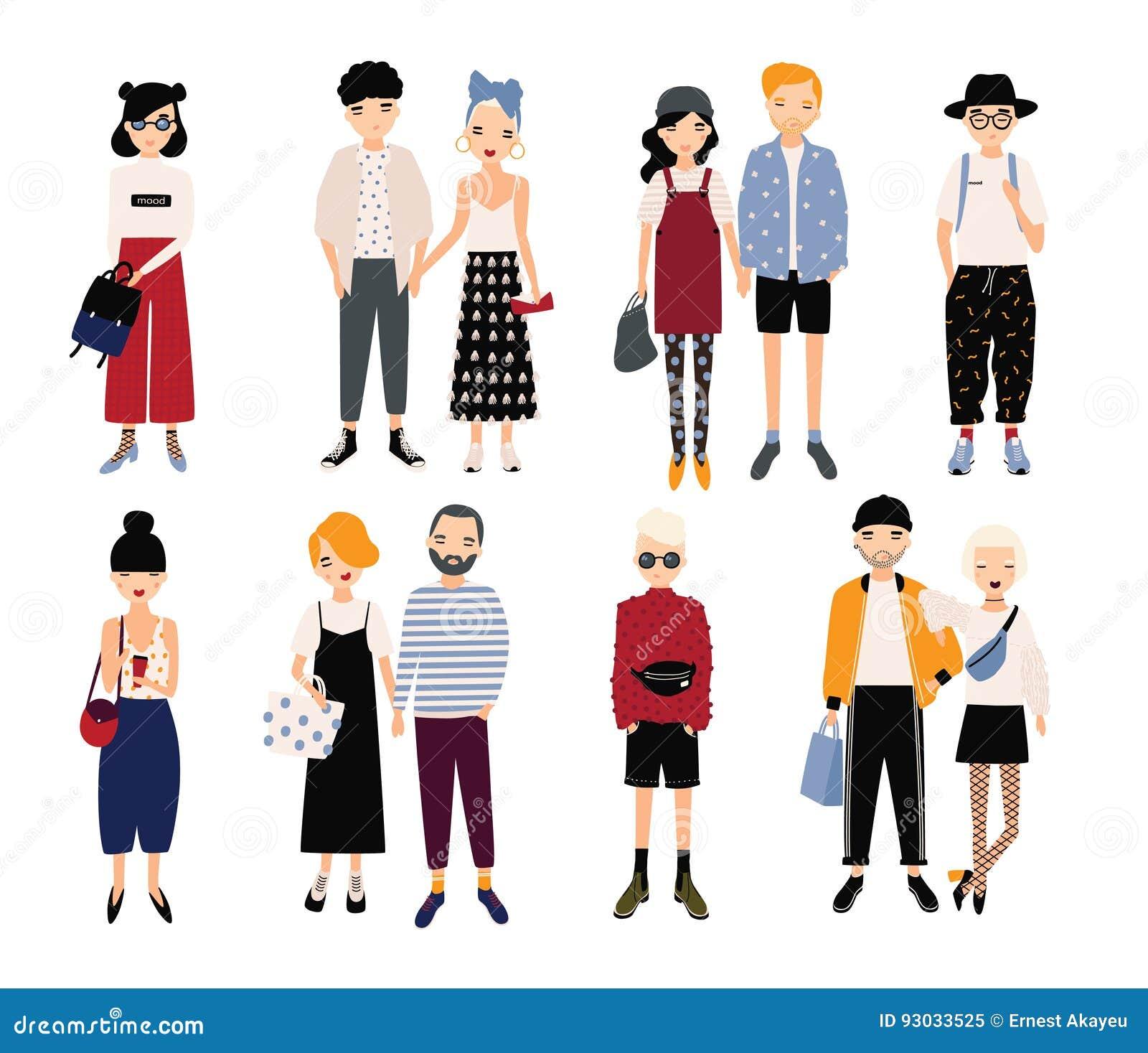 f770ee1bc502 Insieme delle coppie alla moda di amore e dei giovani Tipi e ragazze  differenti in vestiti alla moda