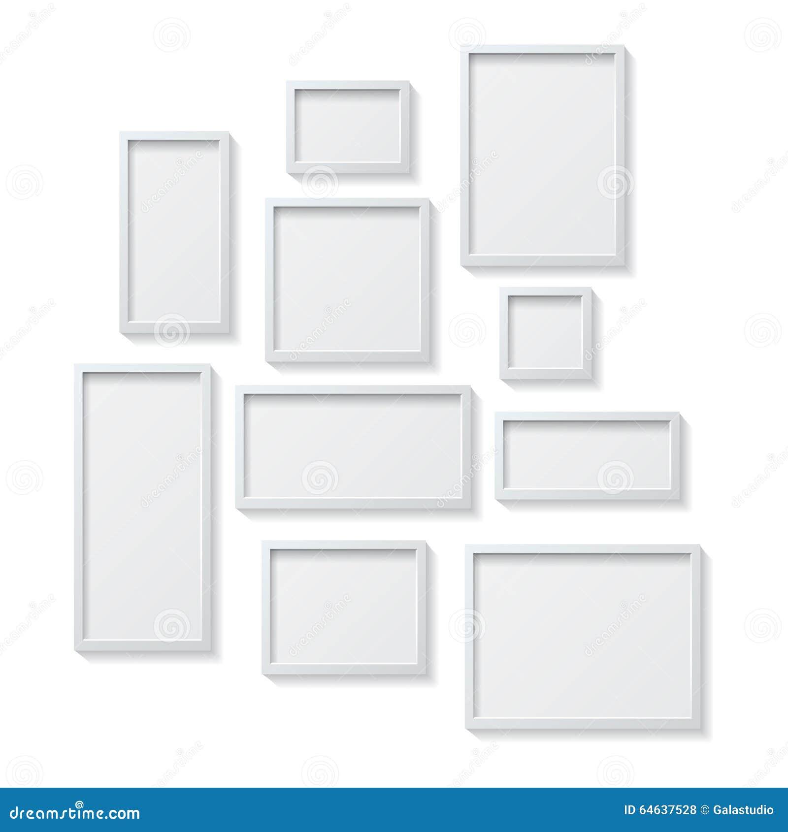 Insieme delle cornici in bianco bianche appendente su una for Cornici bianche