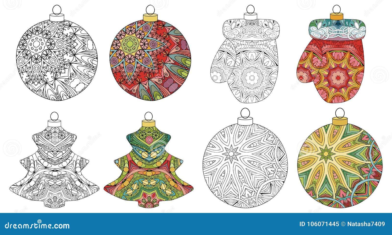 Immagini Natalizie Stilizzate.Insieme Delle Decorazioni Stilizzate Di Natale Dello Zentangle