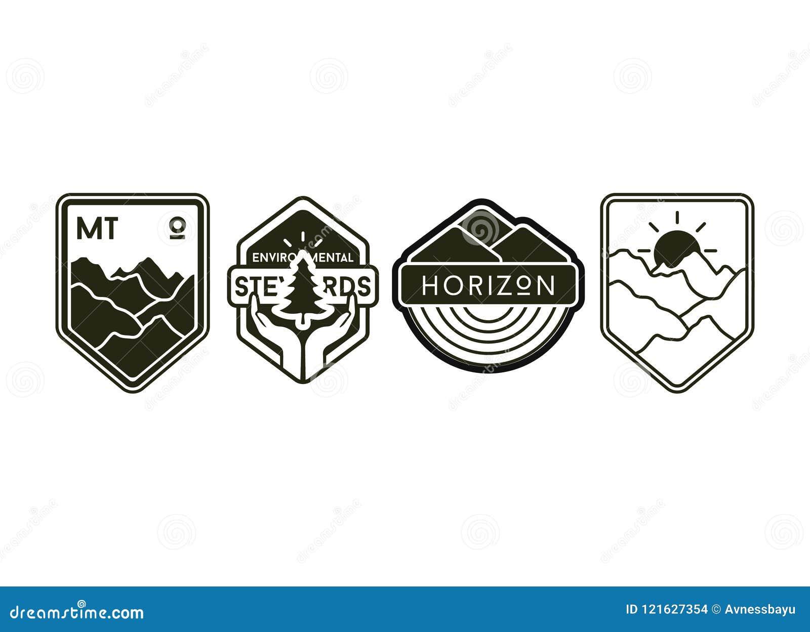 Insieme delle etichette e dei distintivi di campeggio dell annata