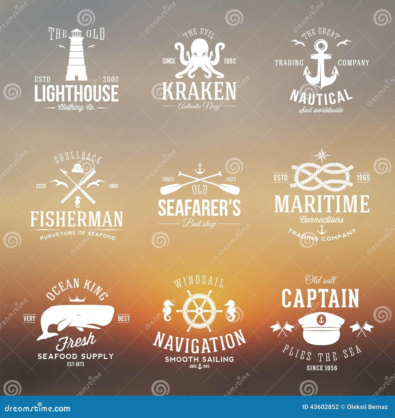 Insieme delle etichette nautiche d annata o dei segni con retro