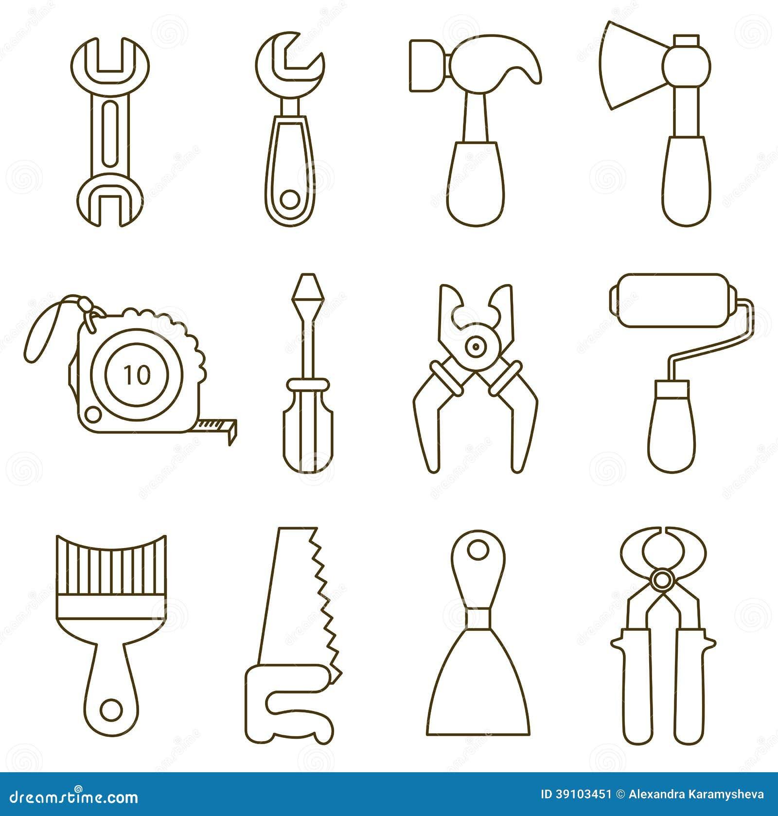 Insieme delle icone degli attrezzi illustrazione - Attrezzi da cucina per dolci ...