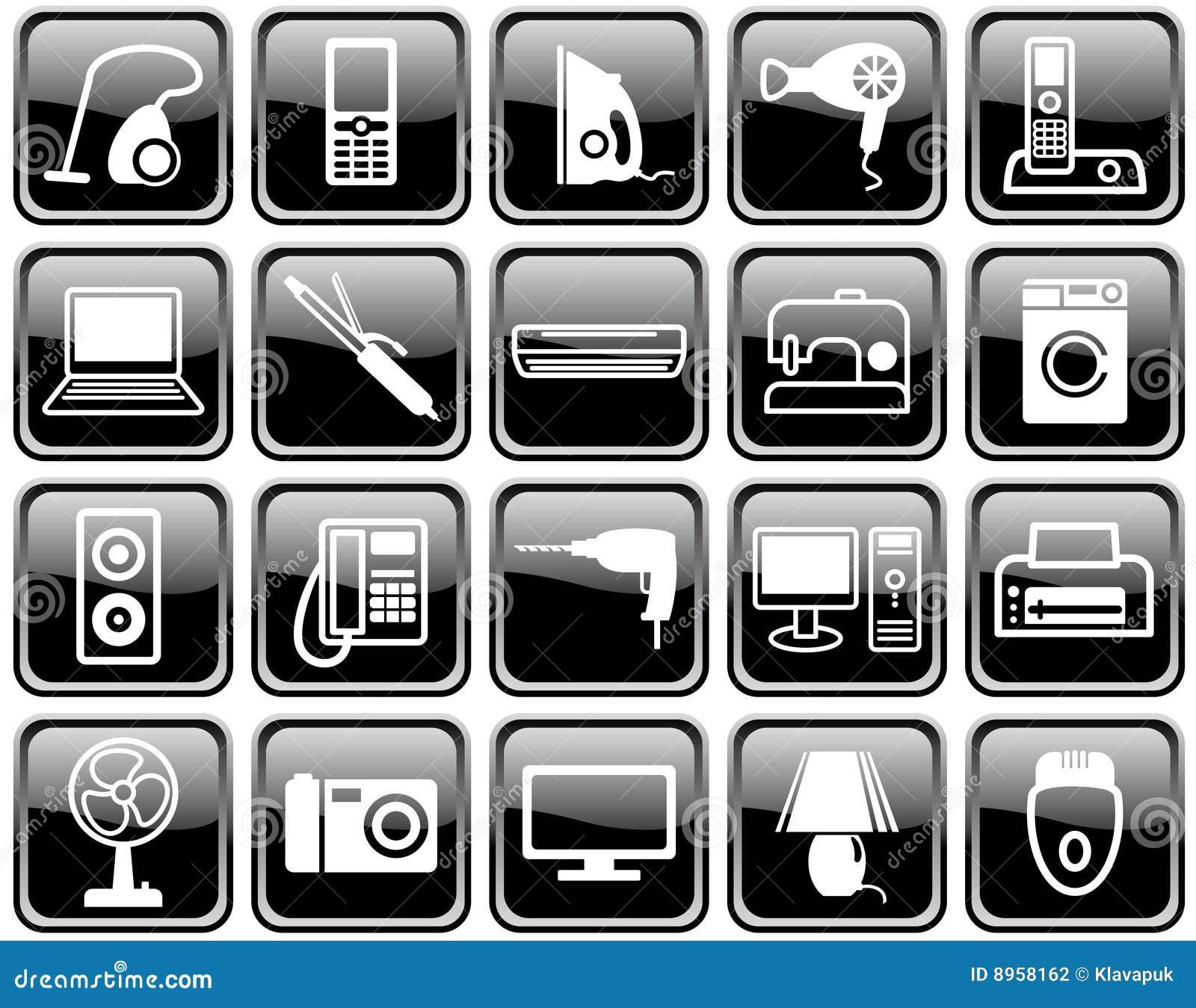 Insieme delle icone degli elettrodomestici fotografia - Immagini di elettrodomestici ...