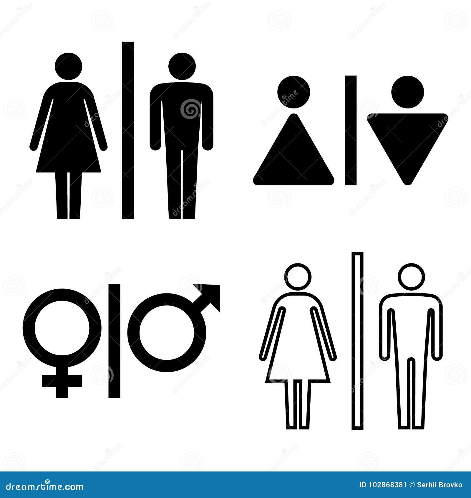 Insieme delle icone del wc Icona di genere Icona della toilette Icona della donna e dell uomo isolata su fondo bianco Illustrazio