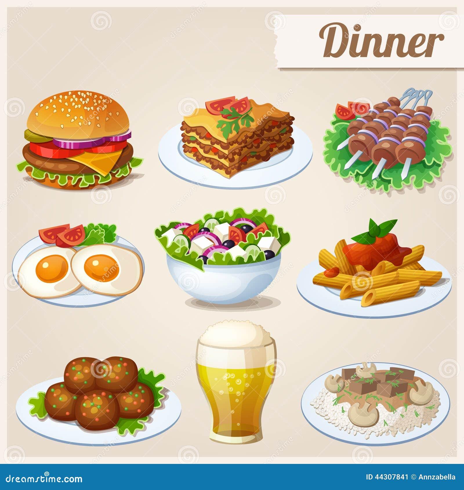 Insieme delle icone dell alimento pranzo