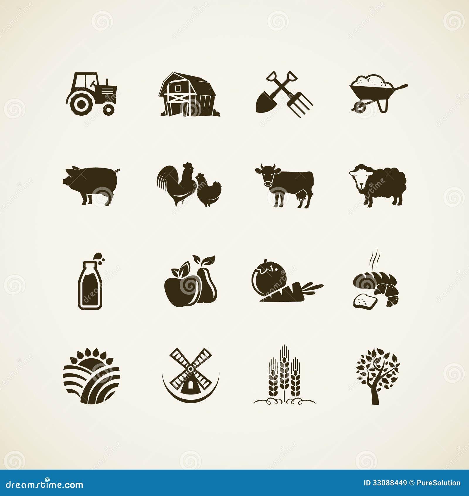 Insieme delle icone dell azienda agricola