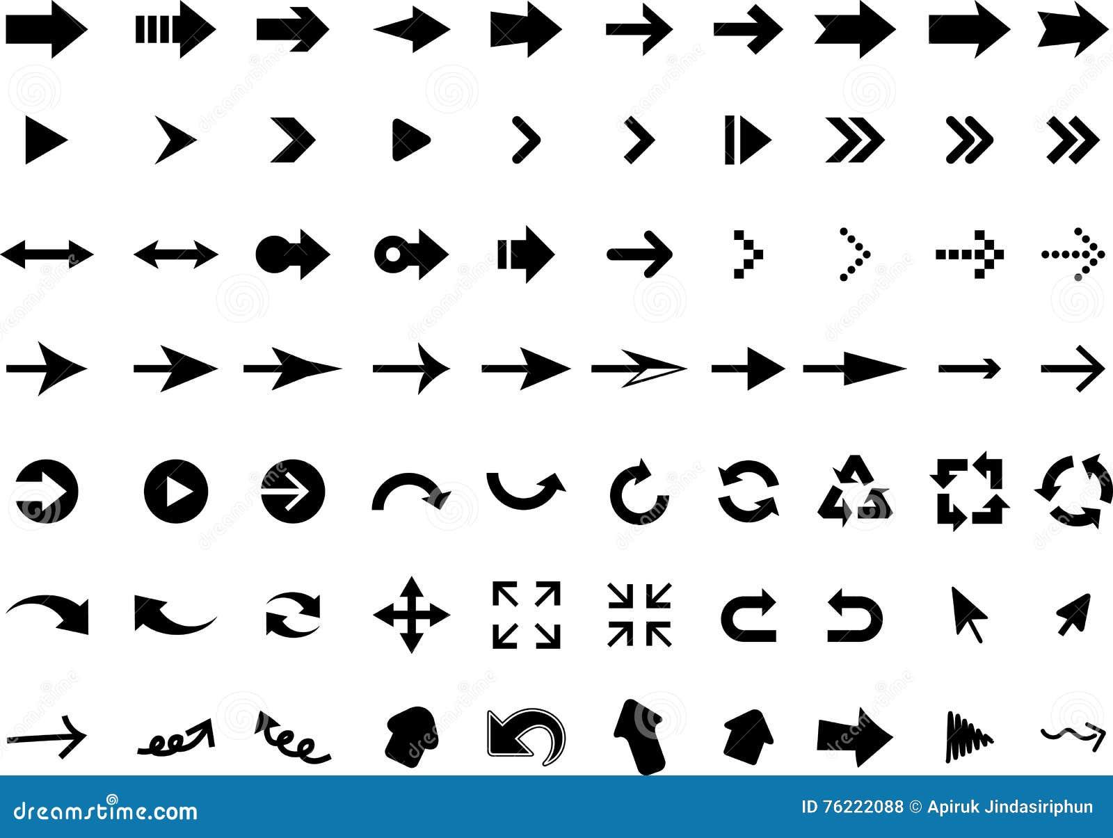 Insieme delle icone della freccia