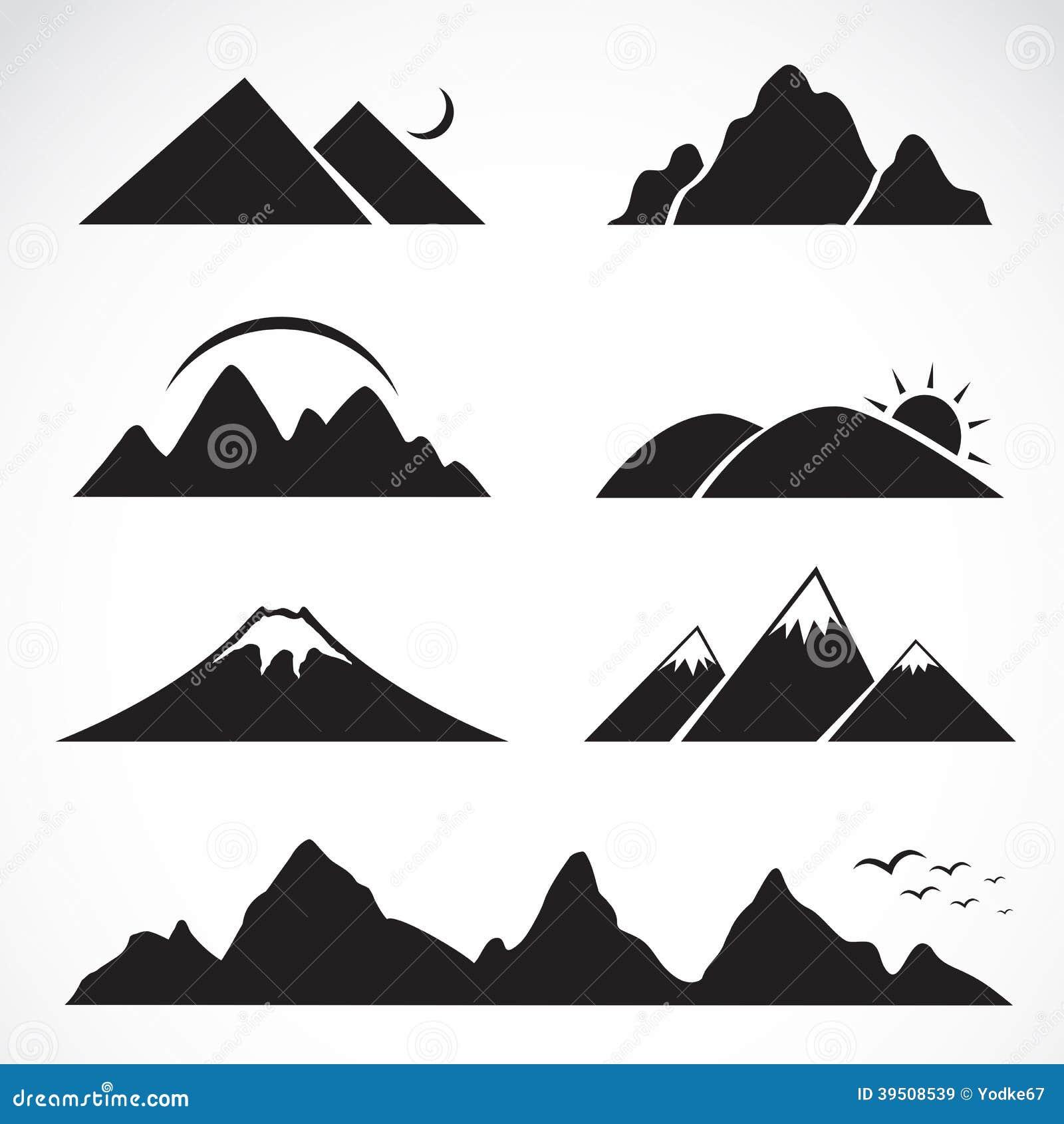 Insieme delle icone della montagna illustrazione for Immagini vector
