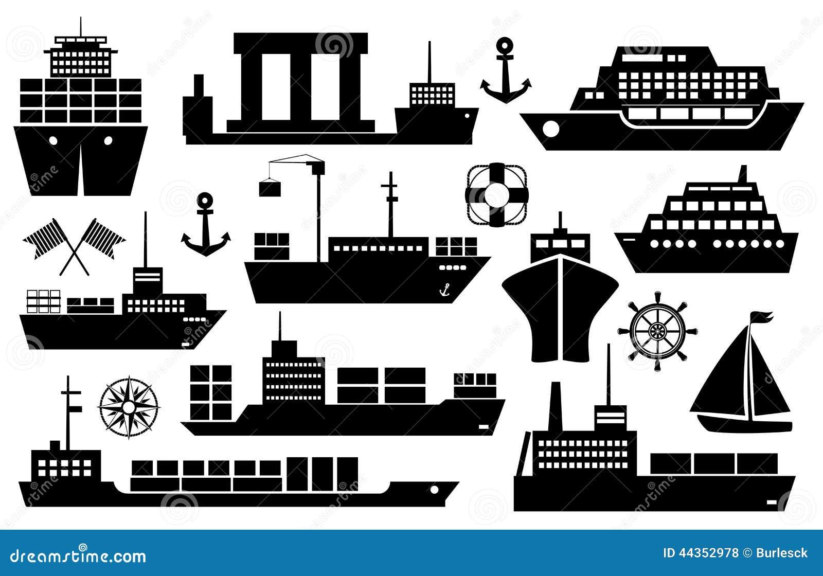 Insieme delle icone delle barche e delle navi