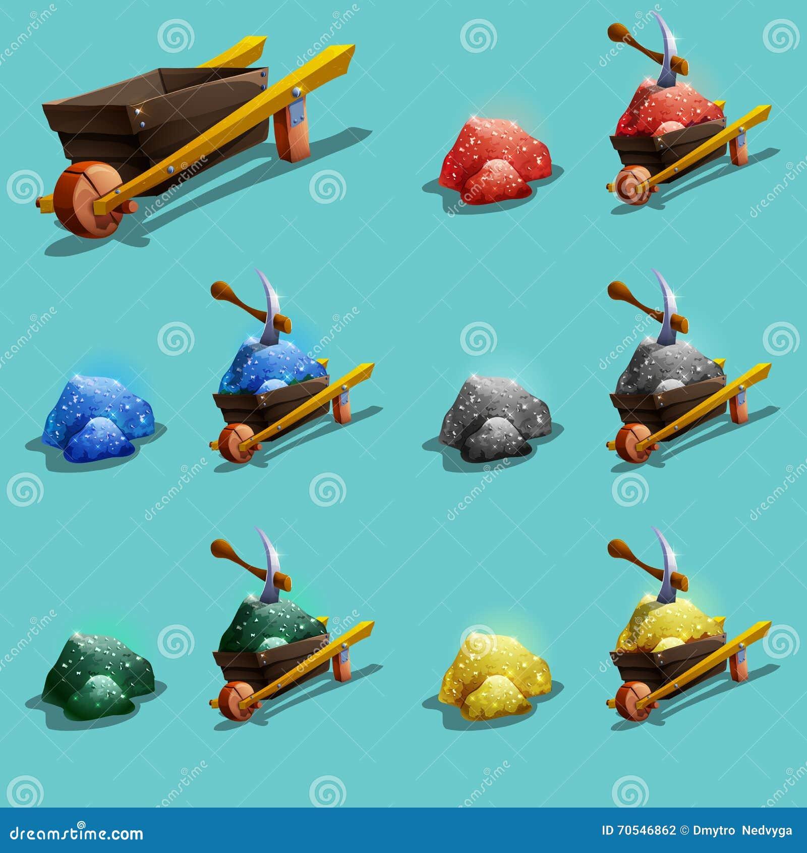 Insieme delle icone delle risorse per i giochi Minerale metallifero verde, blu, rosso, dell oro e dell argento