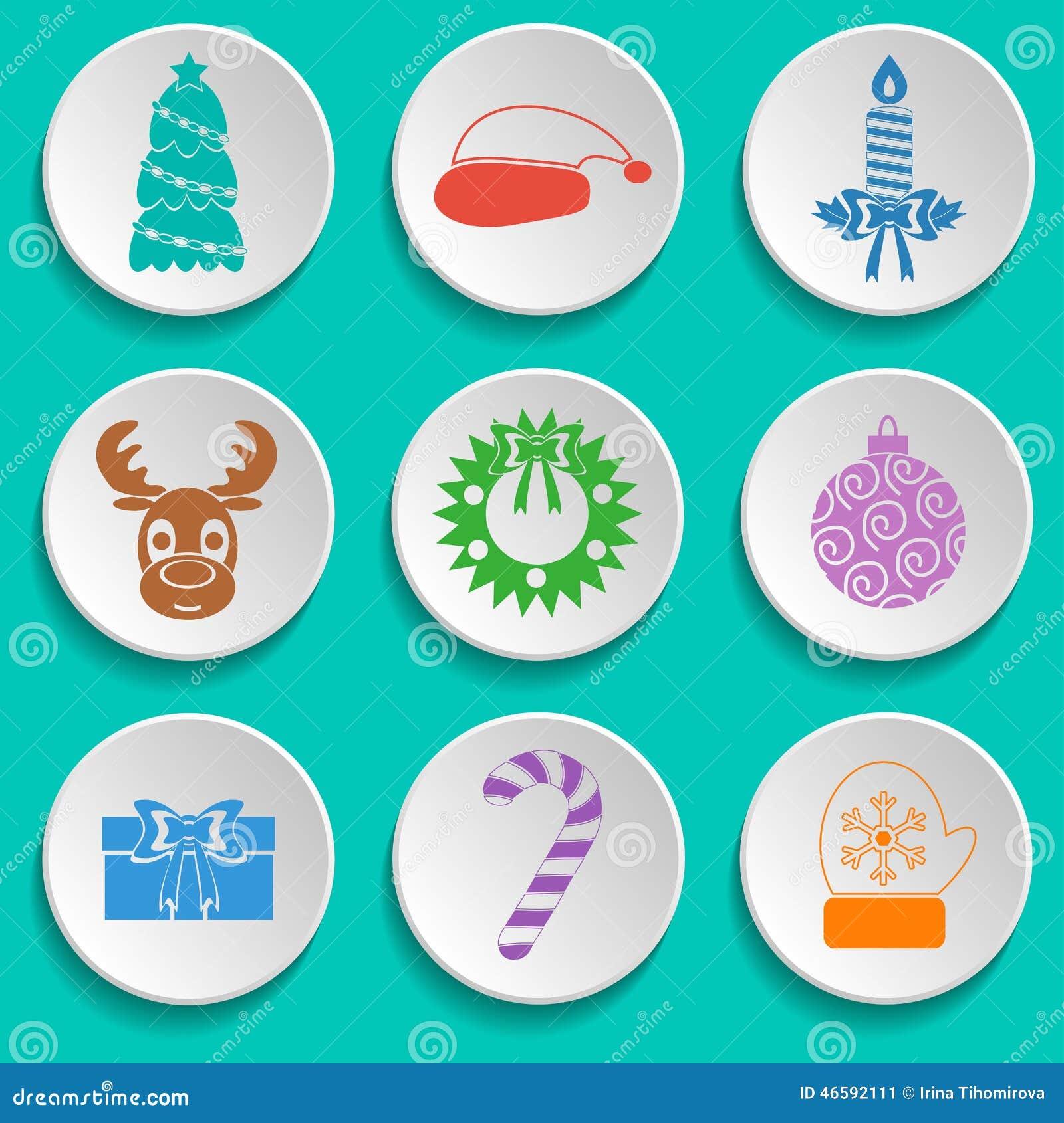 Insieme delle icone di Natale e del nuovo anno Progettazione piana multicolored Vettore